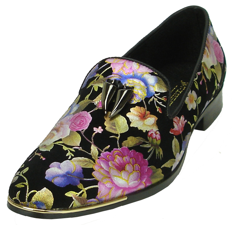 fcd767368a2 Fiesso Black Genuine Leather Multi Color Floral Print Loafer Shoes FI6921.
