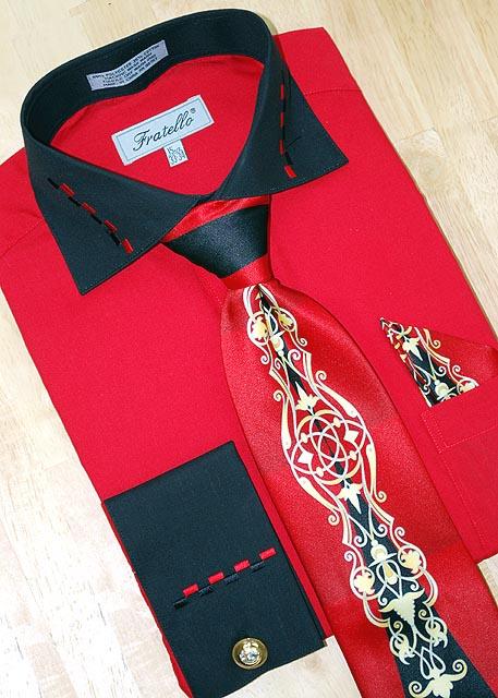 Fratello Red Black W Dash Design Shirt Tie Hanky Set