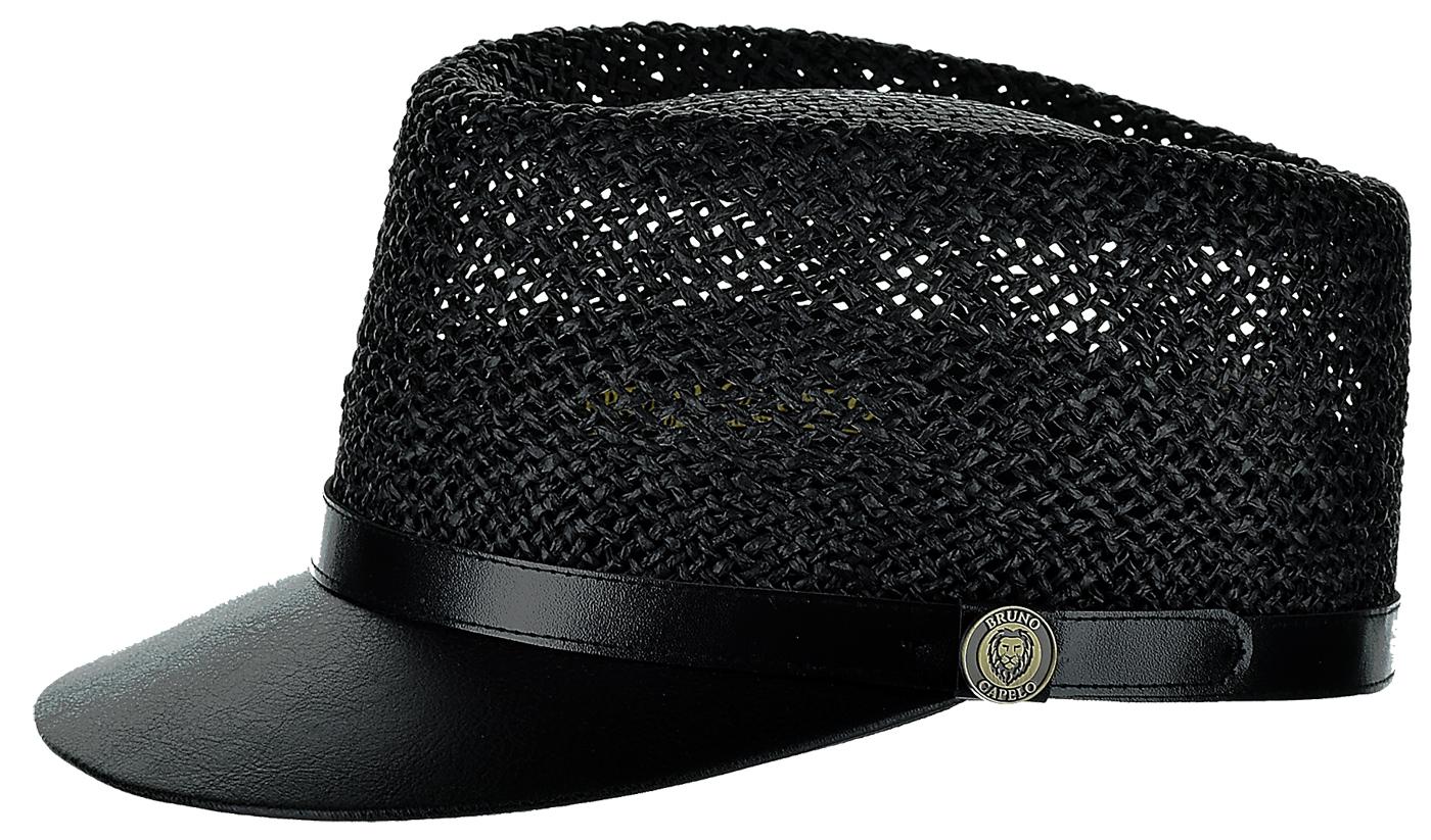 8fdfe8928 Bruno Capelo Black Straw Telescope Baseball Hat With PU Leather Brim LG-203