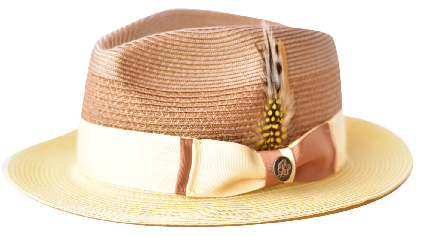 f6b92cfc54329 Steven Land Camel / Natural Cream Braided Fedora Straw Hat SLMS-563
