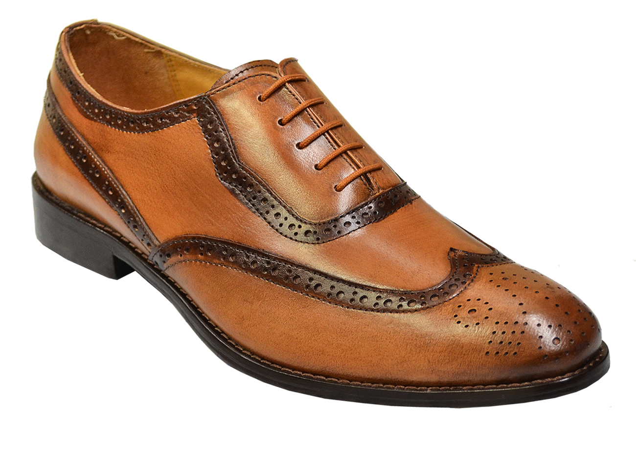 Liberty Taupe Chocolate Brown Soft Italian Calfskin Wingtip Hand Burnished Shoes 920