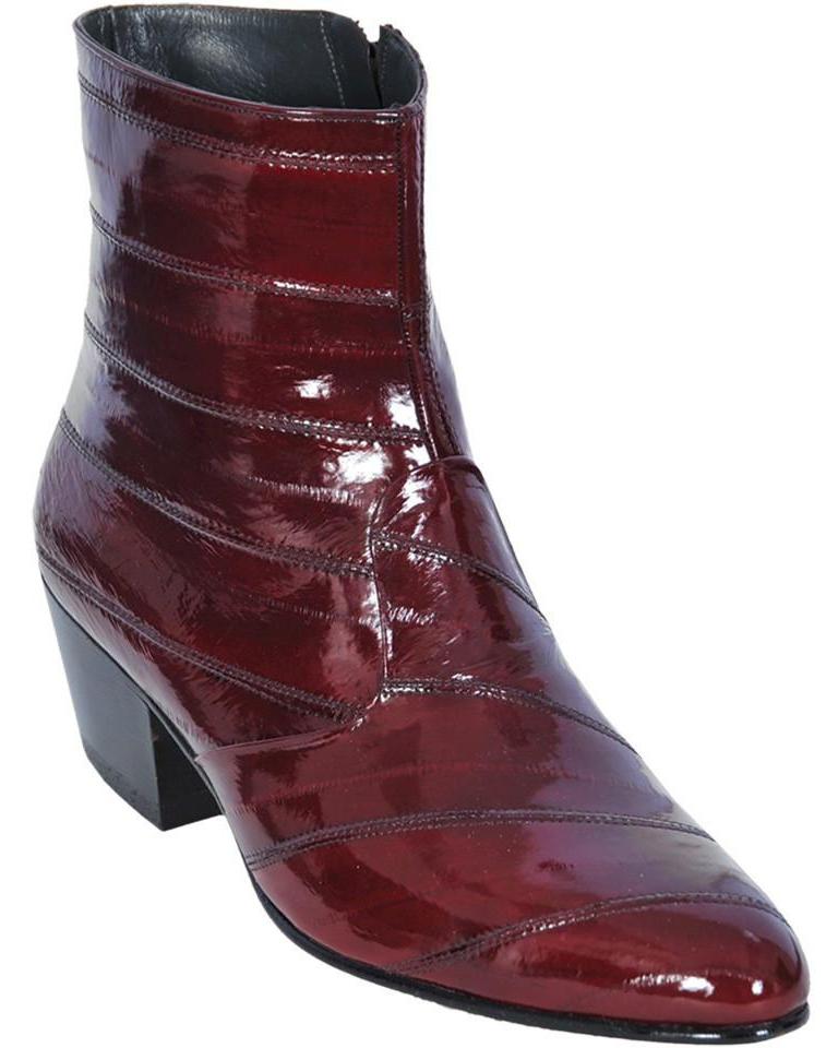 1773c34c61c Los Altos Burgundy Genuine All-Over Eel Medium Round Toe Ankle Boots 630806