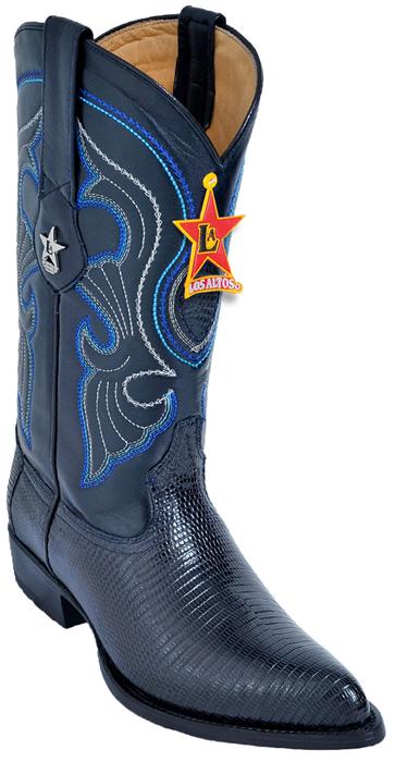 Los Altos Navy Blue Genuine All Over Lizard J Toe Cowboy