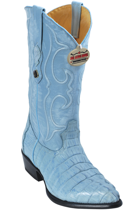 2bf4ed41f76 Los Altos Baby Blue All-Over Genuine Crocodile Tail J-Toe Cowboy Boots  990119