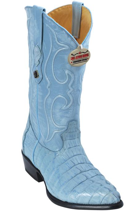 2bf4ed41f76 Los Altos Baby Blue All-Over Genuine Crocodile Tail J-Toe Cowboy Boots  990119