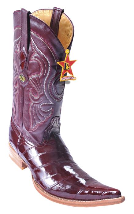 125940c77e8 Los Altos Burgundy Genuine All-Over Eel 6X Pointed Toe Cowboy Boots 960806