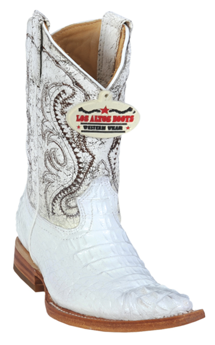 0bfd0aaa5b5 Los Altos Kid's White Genuine Hornback Crocodile 3X Toe Cowboy Boots 450228