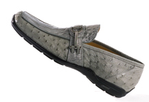 "Mauri ""9130"" Grey All Over Genuine Alligator / Ostrich Loafer Shoes"