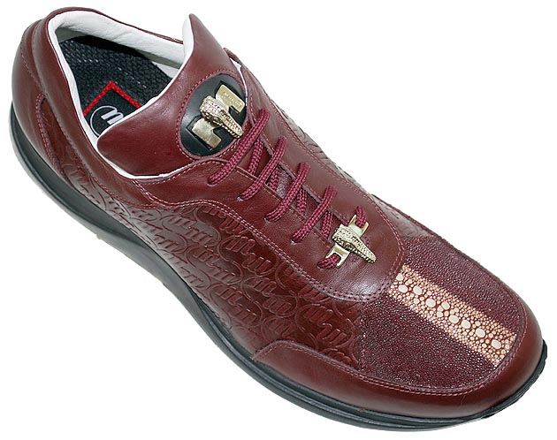 mauri highway burgundy stingray leather sneakers 10 5