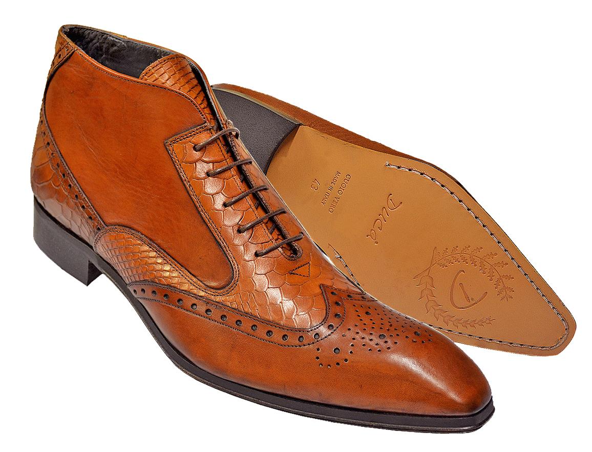 Duca Di Matiste 1102 Cognac Camel Genuine Italian Calfskin Wingtip Leather Ankle Boots