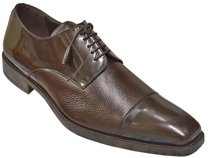 Mezlan Soka Brown Gorgeous Fashion Cap Toe Genuine Deerskin Polished Calfskin Leather Shoes