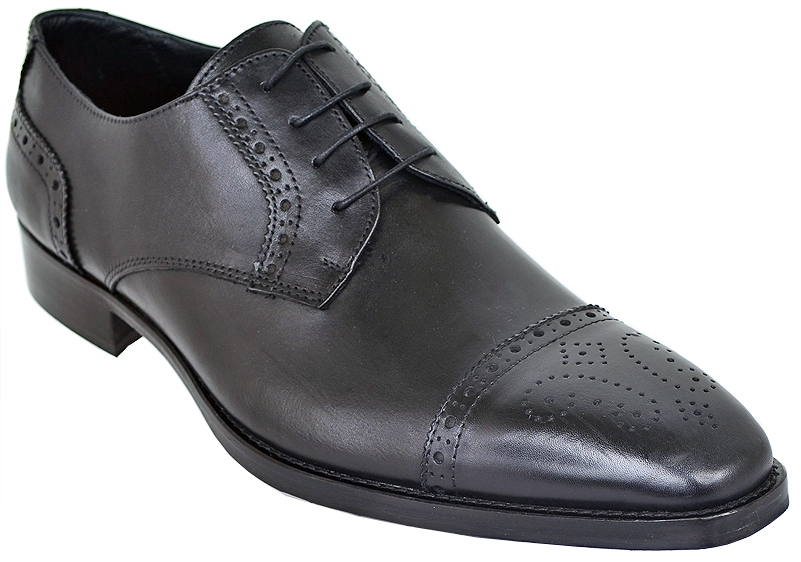 Duca Di Matiste 1509 Black Genuine Italian Calfskin Leather Shoes With Toe Perforation