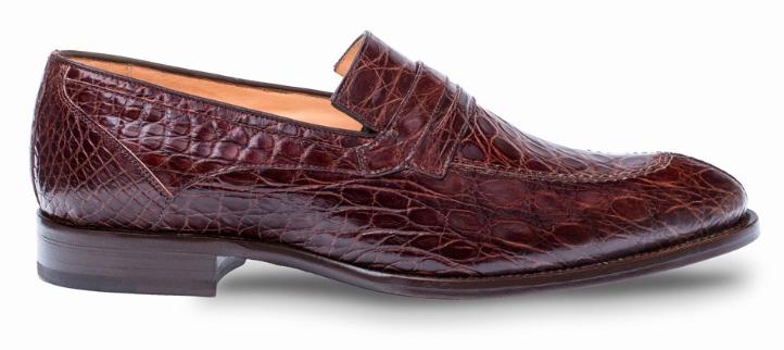 6ddcbea76f3 Mezlan Bixby Brown Genuine Crocodile Penny Loafer Shoes 4366-C ...