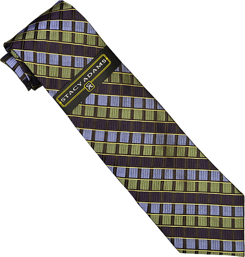 Stacy Adams Collection SA087 Plum / Olive / Sky Blue Diagonal Square Design 100% Woven Silk Necktie/Hanky Set