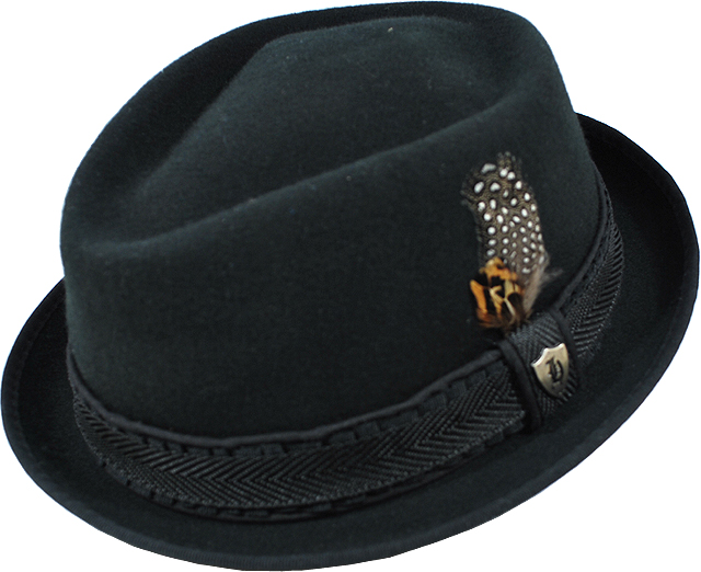 fd481be0955 Headers Old School Black 100% Wool Short Brim Fedora Dress Hat ...