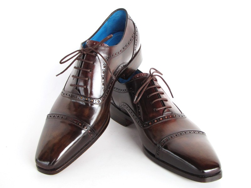 Paul Parkman 024 Brown Genuine Italian Calfskin Captoe Oxford Hand Painted Shoes