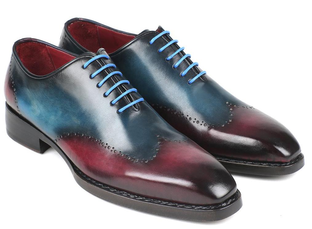332d45c483b35 Paul Parkman ''081-BPX'' Blue / Purple Genuine Hand-Painted Leather Welted  Wingtip Oxfords Shoes.