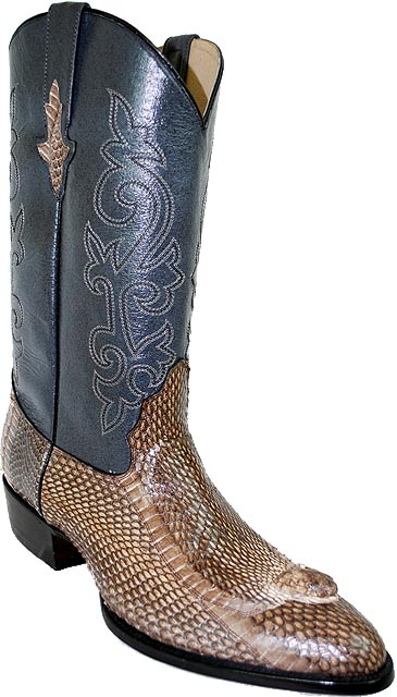 Pecos Bill All Over Taupe King Cobra Head Cowboy Boots