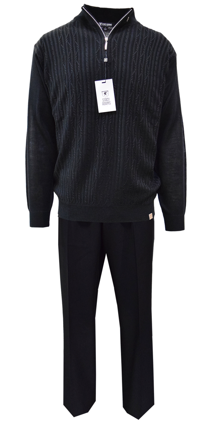 Stacy Adams Black Pull-Over 2 Piece Sweater Outfit 1326