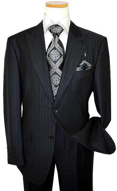 Steve Harvey Classic Collection Blackwhite Pinstripes Super 120s