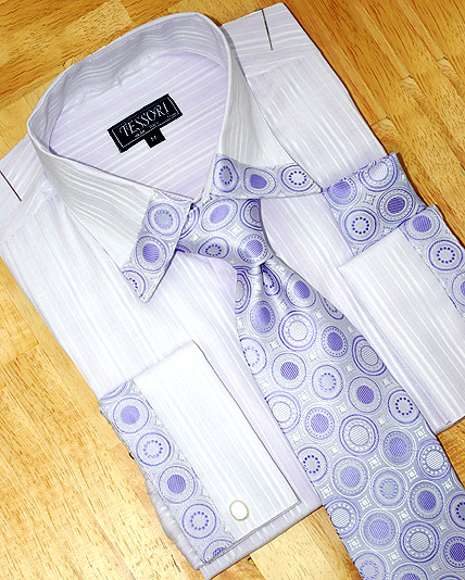 Tessori Lavender Self Striped Shirt/Tie/Hanky Set SH-15