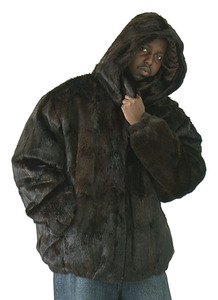 Winter Fur M07R02BR Brown Genuine Full-Skin Mink Fur Bomber Jacket/Detachable Hood