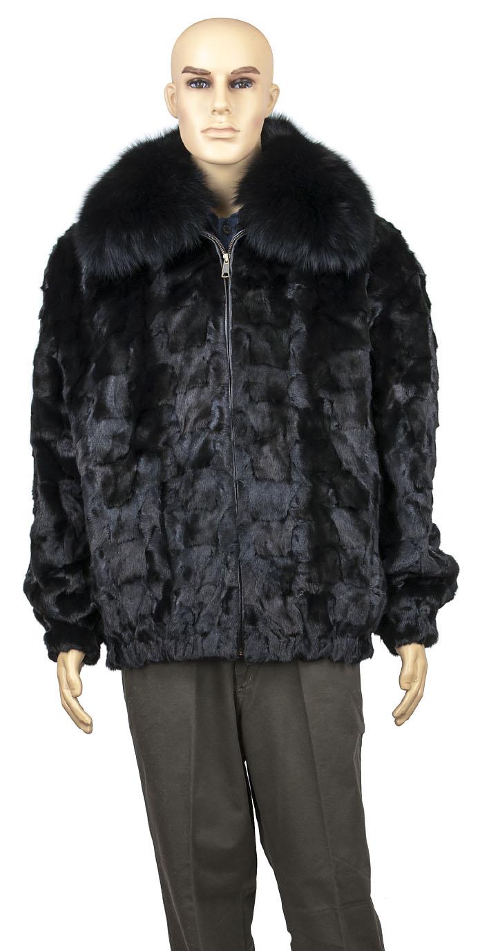 ec910edc4 Winter Fur Black Men's Diamond Mink Jacket With Full Skin Fox Collar  M49R01BK.