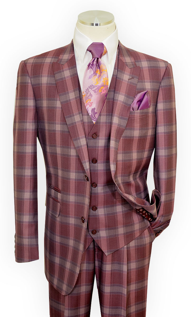 Extrema Rose Pink Mauve Plum Plaid Super 150 S Wool
