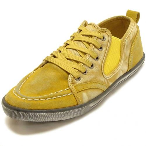 Fiesso Yellow Genuine Leather Casual Sneakers FI2111