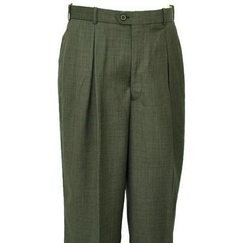 Pronti Olive Green Self Design Wide Leg Slacks P897