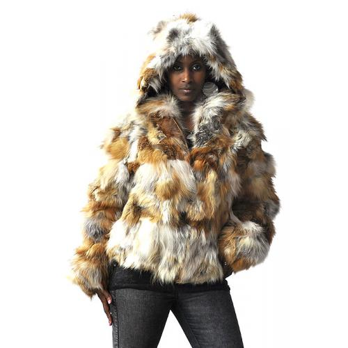 Winter Fur Ladies Natural Genuine Red Fox Jacket With Detachable Hood W11S04NA.