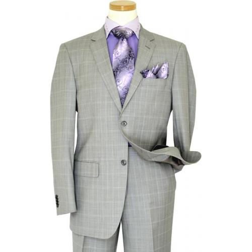 Giorgio Cosani Silver Grey With Lilac Windowpanes Super 140's Cashmere Wool Classic Fit Suit 957