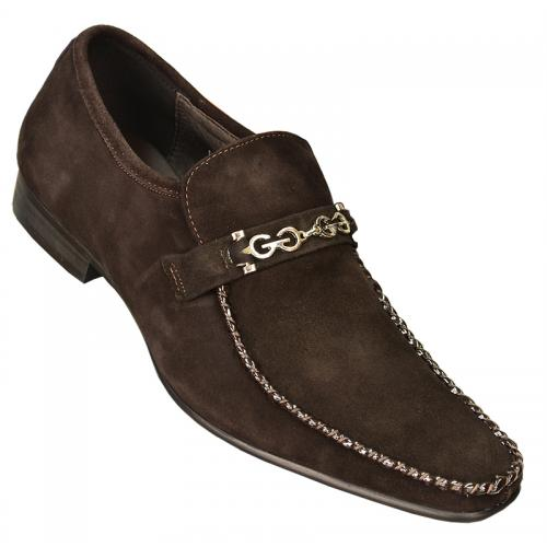 Zota Chocolate Brown Genuine Suede Leather Shoes With Chocolate Brown Piping Silver Bracelet Shoes G6850-6