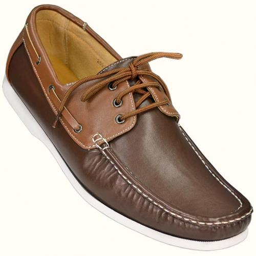 Masimo Brown / Cognac Casual Boat Shoes With White Stitching  2085-28