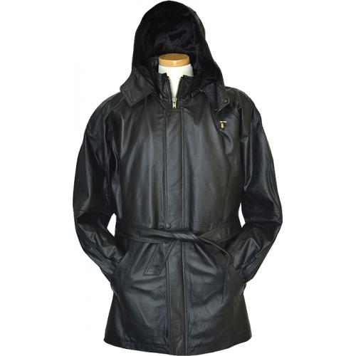 Vintage Black Genuine Leather 3/4 Coat With Zip Out Fur Lining 22348