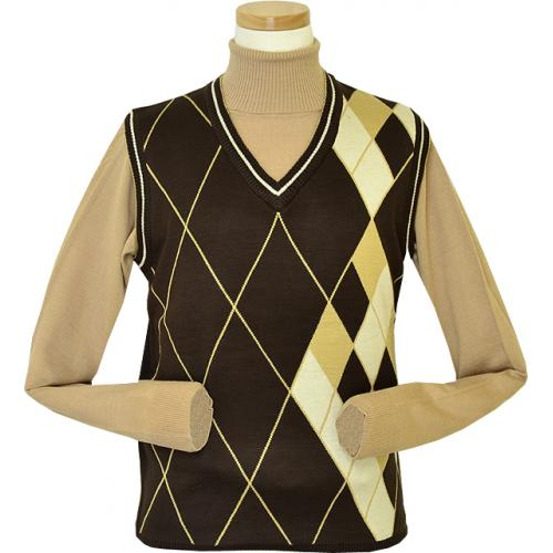 Pronti Chocolate / Peanut Butter / Vanilla Diamond Design V-Neck Sweater Vest K1627