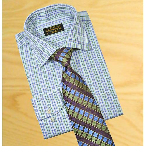 Extrema By Zanetti Italy White / Sky Blue / Green / Grey Micro Windowpanes 100% Mercerized Cotton Dress Shirt 35A