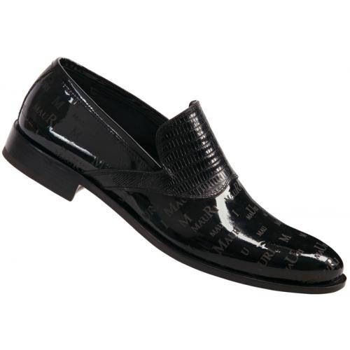 "Mauri ""4437"" Black Genuine Tejus Lizard / Patent Leather Loafer Shoes With Mauri Laser Engraving"