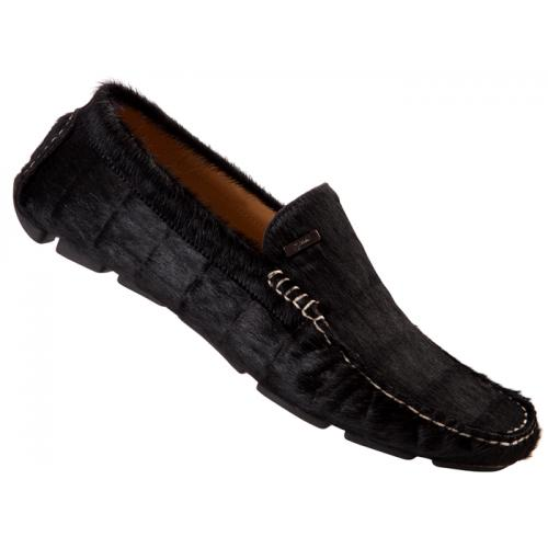 "Mauri ""9229/3"" Black Pony Alligator Printed Hair Loafer Shoes"