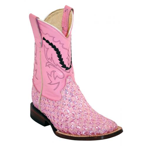 Ferrini Kid's Pink Genuine Leather / Lurex Boots 72793-20