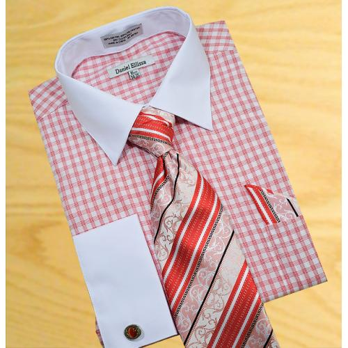 Daniel Ellissa  Brick Red / White Windowpanes Shirt / Tie / Hanky Set With Free Cuff links DS3762P2