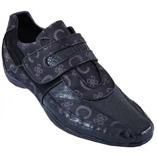 Los Altos Black Genuine Crocodile Belly  W/Fashion Design Casual Shoes With Velcro Strap ZC089005