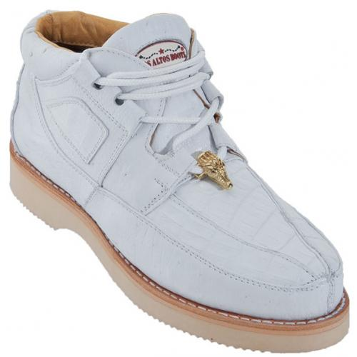 Los Altos White Genuine Crocodile With Smooth Ostrich Casual Shoes ZA052828