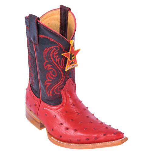 Los Altos Kid's Red All-Over Ostrich Print 3X Toe Cowboy Boots 3450312