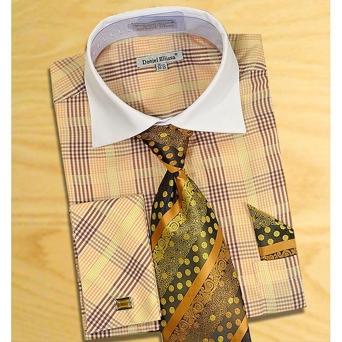 b6e42a6a61a7 Daniel Ellissa Brown / Rust / Gold Windowpanes Shirt / Tie / Hanky Set With  Free Cufflinks DS3766P2