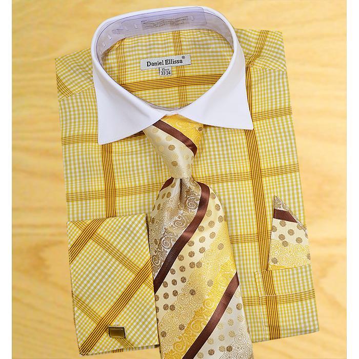 ee70b8b67059 Daniel Ellissa Brown / Rust / Gold Windowpanes Shirt / Tie / Hanky Set With  Free