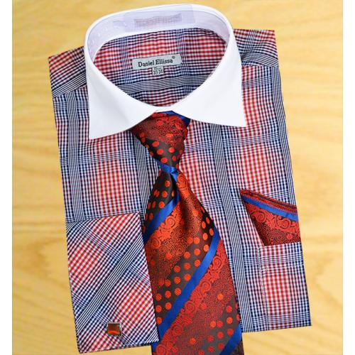 Daniel  Ellissa Red / Navy / White Windowpanes Shirt / Tie / Hanky Set With Free Cufflinks DS3766P2
