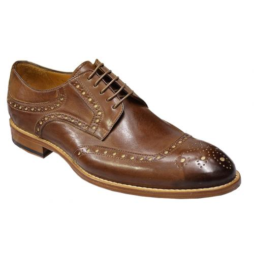 "Dogen ""Vitello"" Brown Cap Toe Italian Shoes With Contrast Perforation i700/978"