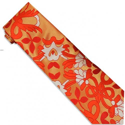 Verse 9 Collection Red / Honey Paisley Design 100% Woven Silk Necktie/Hanky Set V904