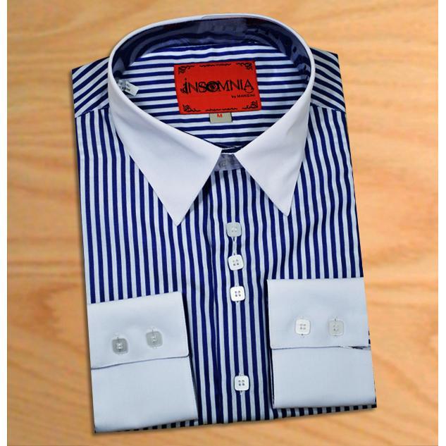 blue pinstripe shirt white collar